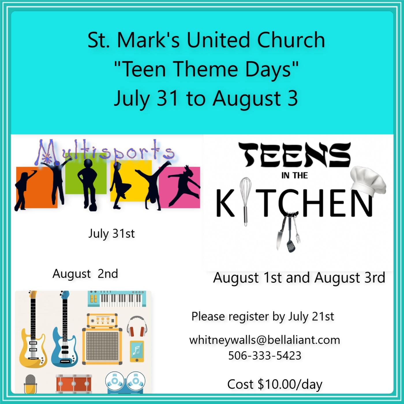 Teen Theme Week St Mark S United Church Saint John Nb